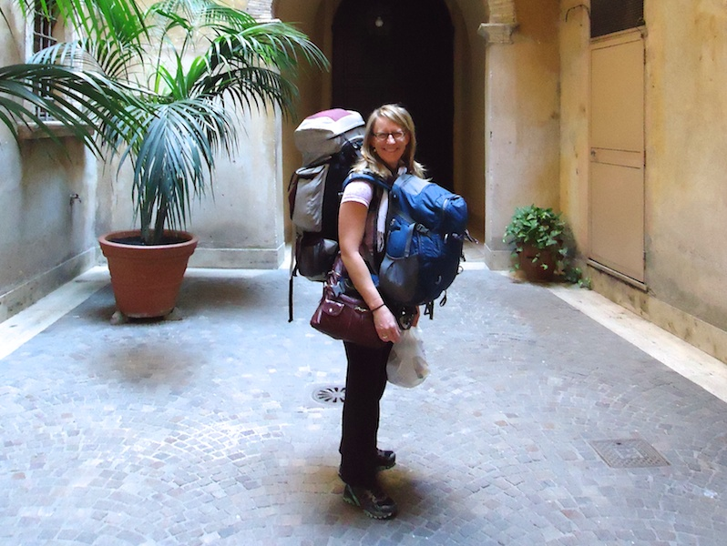 Sherry is a nomad. She has to carry all of her stuff somehow!