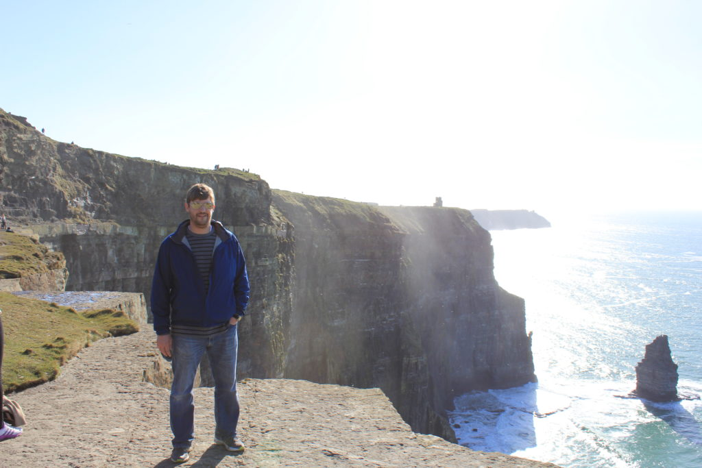 Somehow we got through a week in Ireland for a wedding even though it all started more than a month earlier. Here I am at Cliffs of Moher 4-13-15