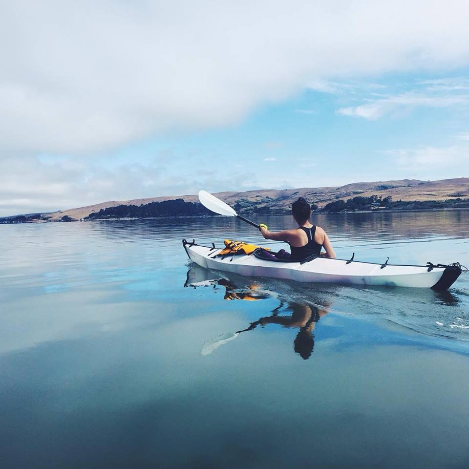 Gina Exploring on her Oru Kayak