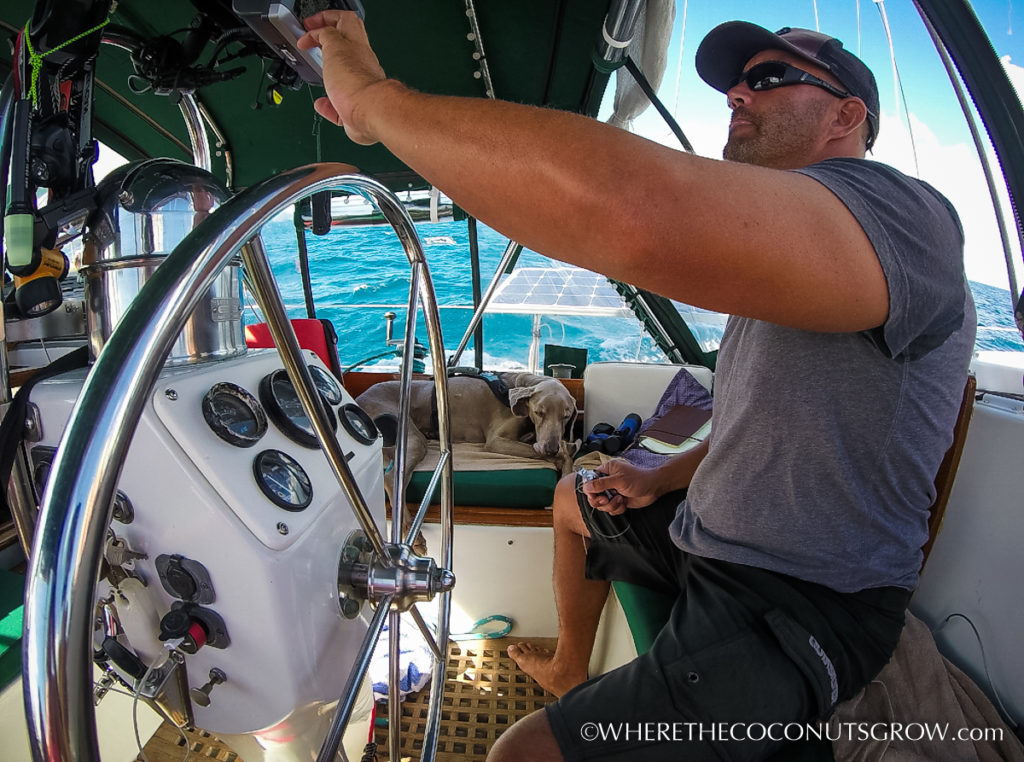Peter at the helm of Mary Christine