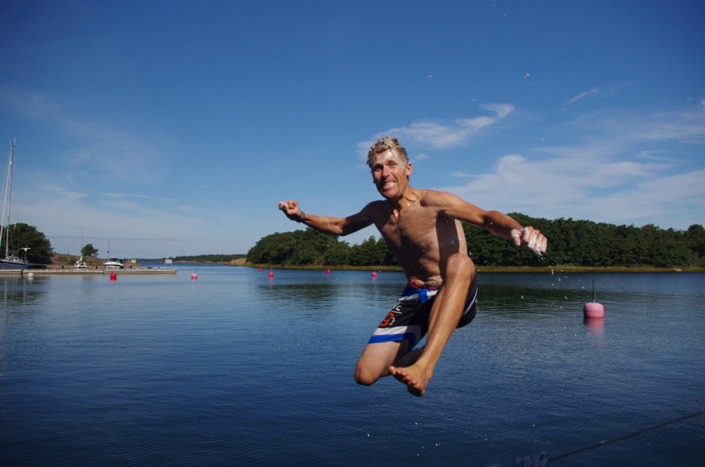 Andy Swimming and Showering in the Aland Archipelago